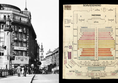 Schweden Kino around 1930, exterior and site plan