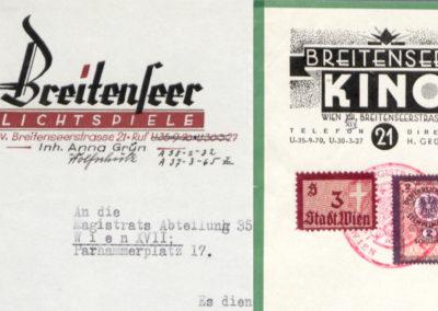 Breitenseer Lichtspiele, Briefköpfe